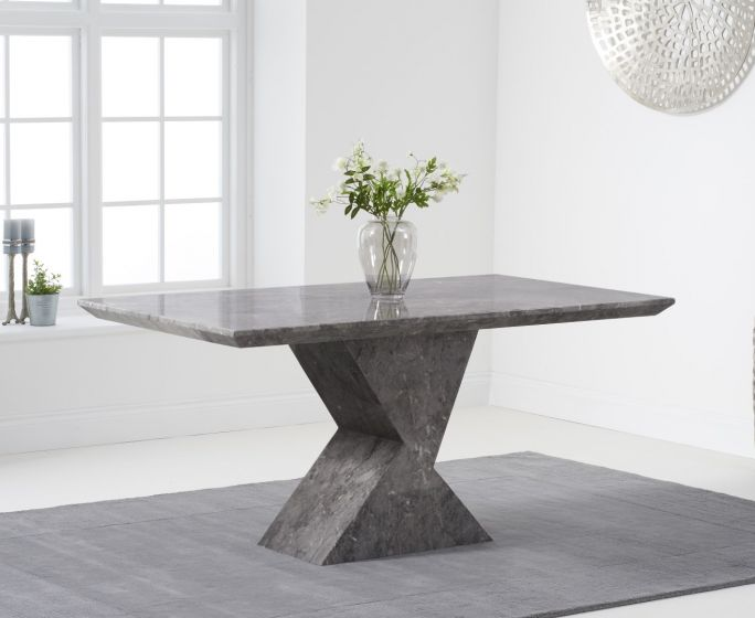 Allen 160cm Rectangular Grey Marble Dining Table Pt30218 First Furniture First Furniture