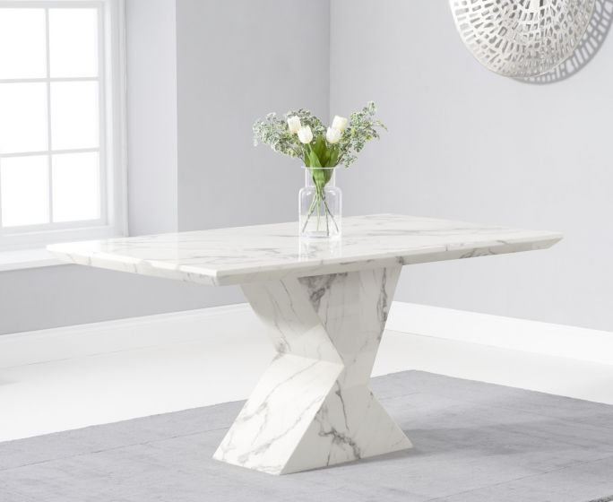 Allen 160cm Rectangular White Marble Dining Table Pt30220 First Furniture First Furniture