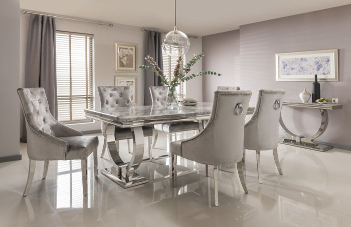 Arianna 200cm Grey Marble Dining Table And 6 Belvedere