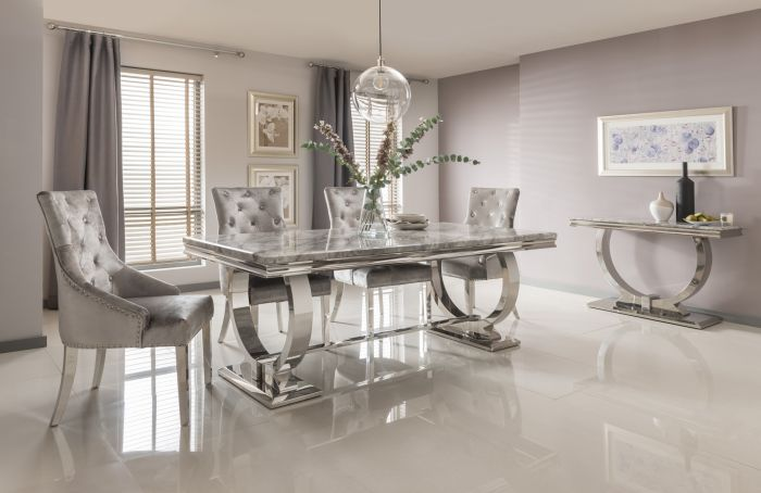 Arianna 180cm Grey Marble Dining Table And 4 Belvedere