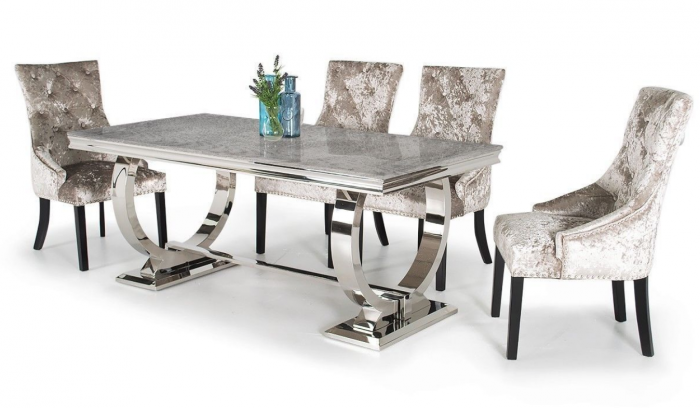 Arianna 200cm Grey Marble Dining Table And 6 Eden Chairs First Furniture