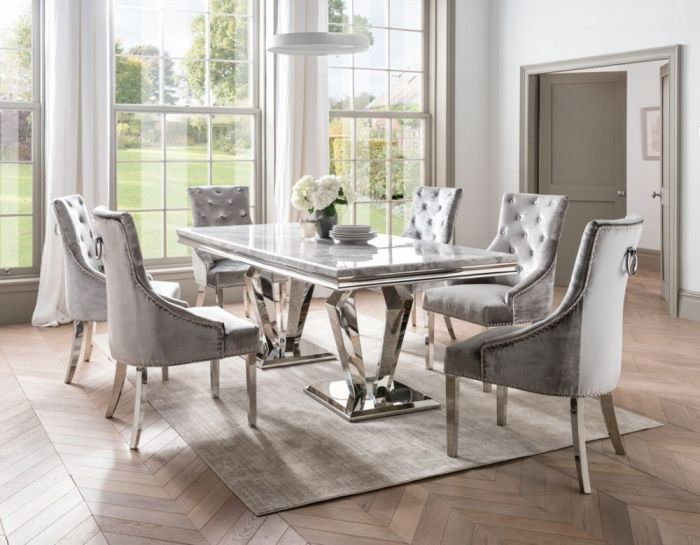 Arturo 200cm Grey Marble Dining Table And Belvedere Velvet Chairs First Furniture First Furniture