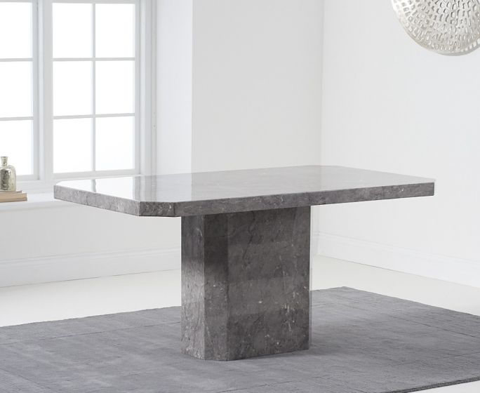 Becca 160cm Rectangular Grey Marble Dining Table Pt30221 First Furniture First Furniture