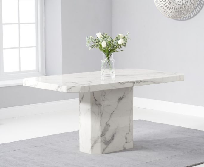 Becca 160cm Rectangular White Marble Dining Table Pt30223 First Furniture First Furniture
