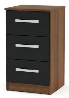 Birlea Lynx Black Walnut High Gloss 3 Drawer Bedside Cabinet First Furniture