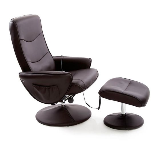 Fairmont Lyon Brown Leather Massage and Heat Swivel Recliner Chair