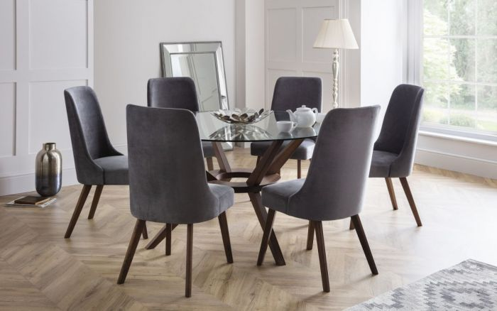 Julian Bowen Chelsea 140cm Round Glass Dining Set With 6 Huxley Chairs First Furniture First Furniture
