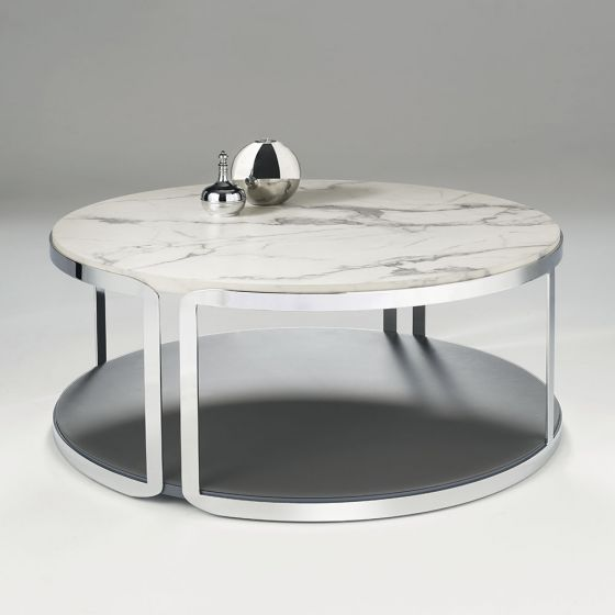 Chelsom Riva Round Carrara Marble, Round Glass And Stainless Steel Coffee Table