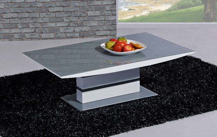 d39c1b21f451 Arctic Grey and White High Gloss Coffee Table CT-2104GW |First Furniture