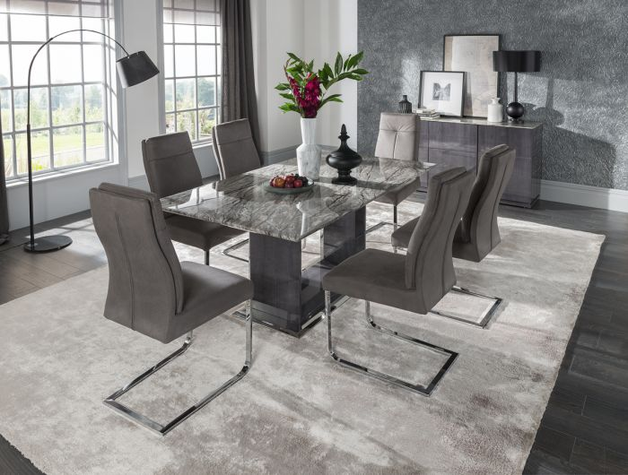 ea821eafc8 Donatella 220cm Grey Marble Dining Table + 8 Chairs Dta-220 +Dta-111 |First  Furniture