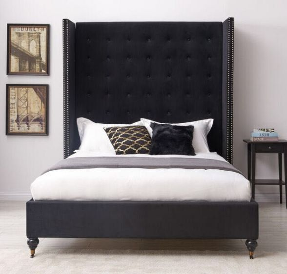 new style ecd29 3a595 Melrose Black Fabric 4ft6 Double Bed