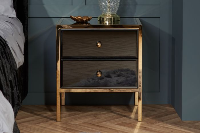 Fenwick Black And Gold Glass 2 Drawer Bedside Uk S No 1 Stockist For Furniture First Furniture