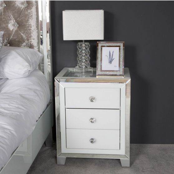 Hatton 3 Drawer White Mirrored Bedside Cabinet First Furniture First Furniture