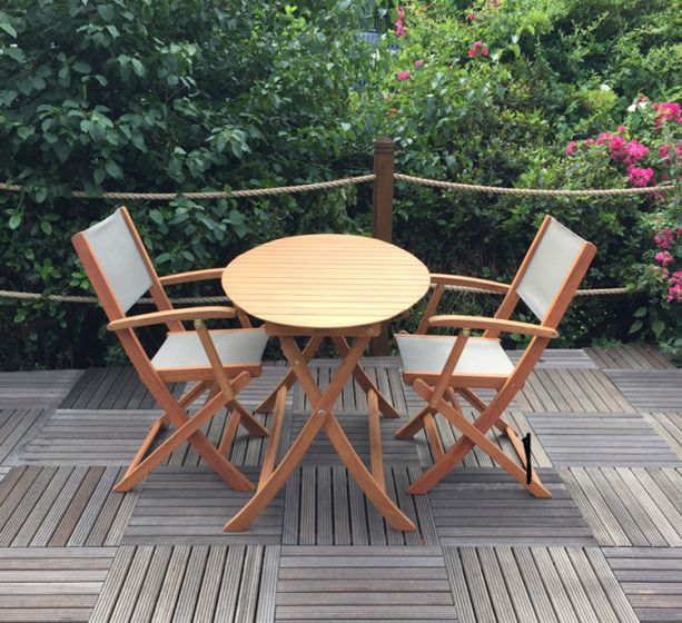 royalcraft chelsea ellipse wooden bistro set with 2 folding textylene armchairs