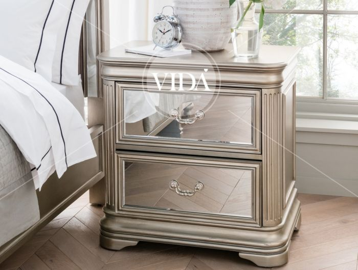 Jessica Taupe Mirrored Bedside Table Jes 410 First Furniture First Furniture