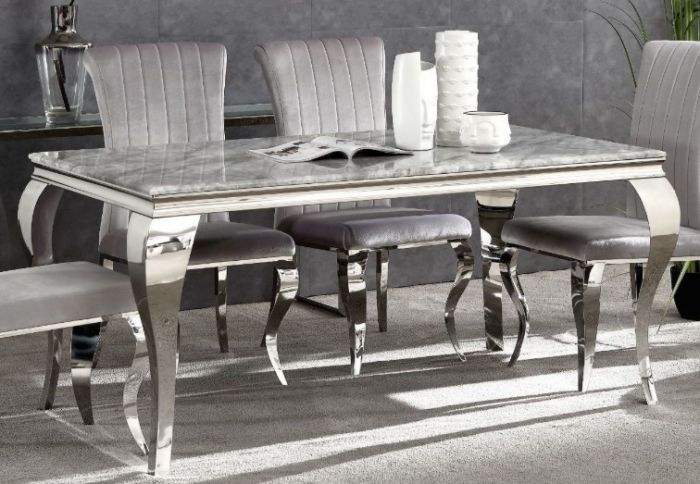 Liyana Grey Marble Dining Table First Furniture First Furniture
