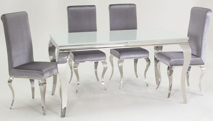 Groovy Louis 160Cm White Glass Dining Table With 4 Silver Chairs Camellatalisay Diy Chair Ideas Camellatalisaycom