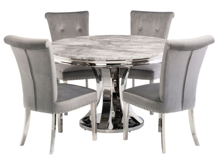 Mitzi 120cm Grey Marble Round Dining, Round Marble Dining Table And Chairs