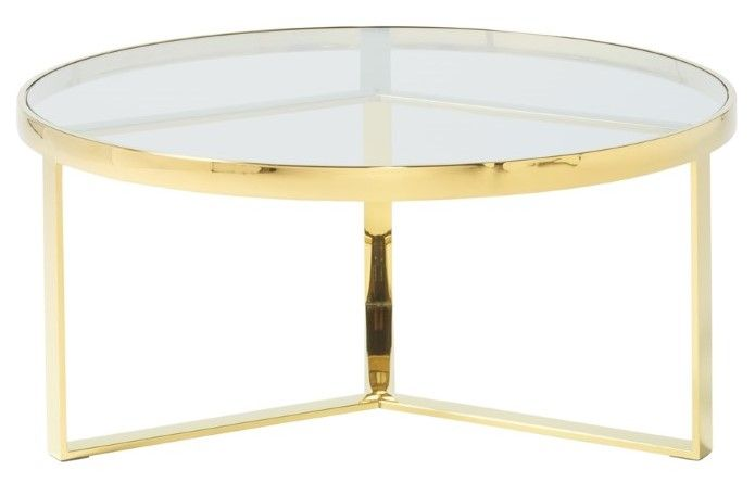 Serene Naomi Glass Top With Gold Frame Coffee Table First