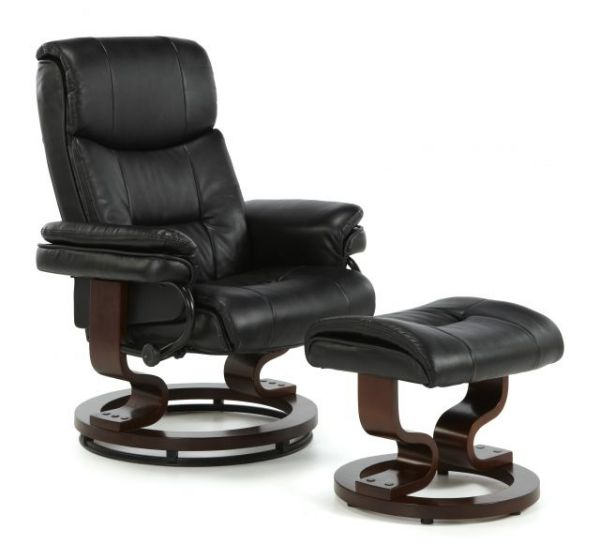 Fabulous Serene Moss Black Leather Swivel Recliner Chair With Footstool Beatyapartments Chair Design Images Beatyapartmentscom