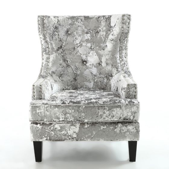 Shankar Majesty Silver Premium Crushed Velvet Armchair MAJ ACF HGCV SLV  |First Furniture