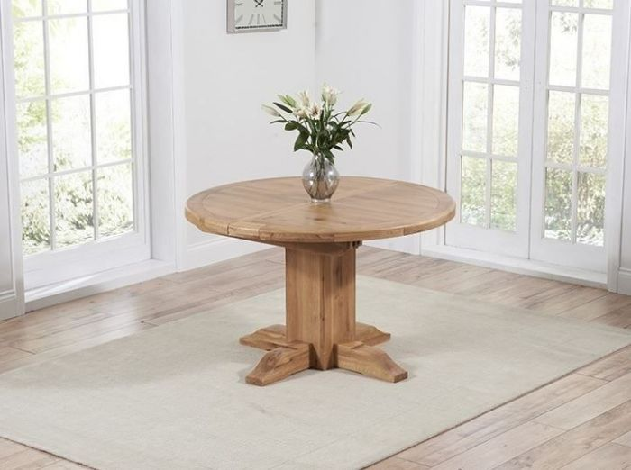 Turin 125cm Solid Oak Round Ext Dining Table With A Waxed Finish Pt41602 First Furniture