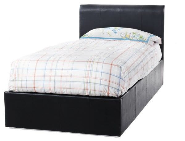 Surprising Serene Tuscany 3Ft Single Black Faux Leather Ottoman Bed Caraccident5 Cool Chair Designs And Ideas Caraccident5Info