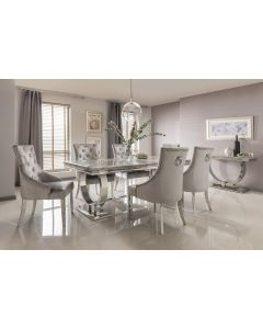 Arianna 180cm Grey Marble Dining Table And 6 Belvedere Silver Velvet Chairs