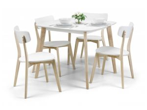 Julian Bowen Casa White and Wood Dining Table + 2 Casa Chairs