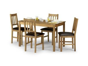 Julian Bowen Coxmoor Oak Dining Set Table + 4 Slatted Chairs