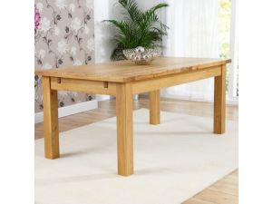 Rustique 120cm Solid Oak Extending Dining Table + 4 Rustique Slatted Chairs