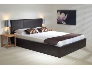 Emporia Madrid 4ft Small Double Brown Leather Ottoman Bed
