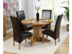 Monte Carlo Solid Oak Extending Dining Table + 4 Roma Leather Chairs