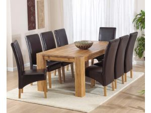 Madrid 240cm Solid Oak Extending Dining Table + 8 Roma Leather Chairs