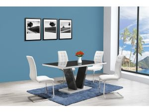 Zara Grey High Gloss Top Big Dining Table and 6 Enzo White Leather Chairs
