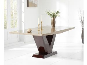 Valencie 200cm Brown Marble Rect. Dining Table