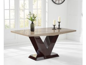 Valencie 160cm Brown Marble Rect. Dining Table