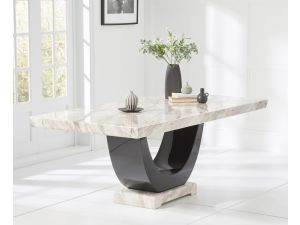 Rivilino 200cm Cream Marble Rect. Dining Table