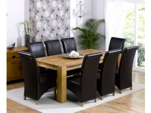 Madrid 240cm Solid Oak Extending Dining Table + 8 Barcelona Leather Chairs
