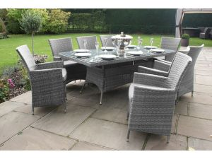 Maze LA 8 Seat Rectangle Rattan Dining Set - Grey