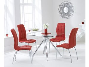 Elba 100 cm Glass Dining Table + 4 California Chairs