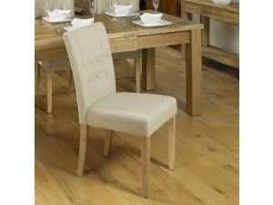 Mobel Oak Flare Back Biscuit Upholstered Dining Chair Pair