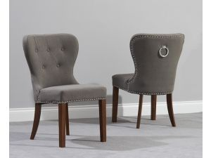 Kalim Grey  Solid Dark Oak and Fabric Chairs (Pairs)