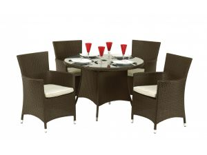 Royalcraft Cannes Brown Round 4 Seater Rattan Garden Furniture Set