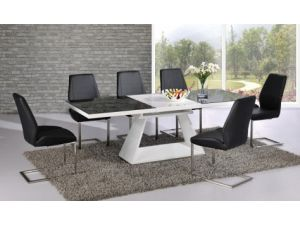 Italia Black and White Extending Dining Table With 6 Mariya Black Chairs