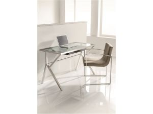 Chelsom Scribe Clear Glass Desk With Drawer