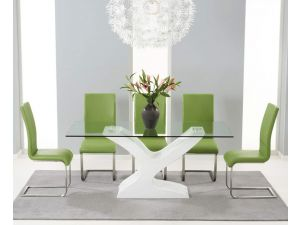 Natalie 180cm Glass Dining Table With 6 Malibu Green Leather Chairs