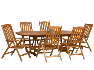 Royalcraft Edinburgh 6 Seat Ext. Dining Table with Manhattan Recliner Chairs