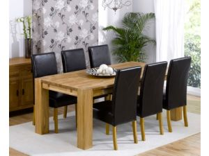 Madrid 240cm Solid Oak Extending Dining Table + 6 Rustique Slatted Chairs