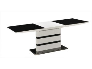 Arctic Black Glass White High Gloss Extending Dining Table